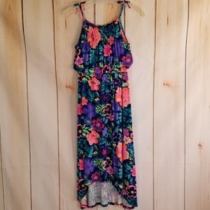 Cherokee Colorful Neon Floral Rayon Maxi Dress M